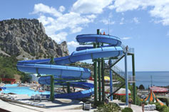 Aqua park in Blue Bay, in the vicinity of Yalta